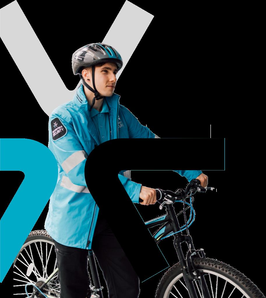 Kandor Surrey BC employee on a bike with the Kandor icon.